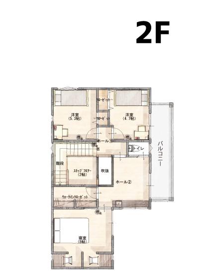 間取り画像2:古三津モデルハウス<10号地>